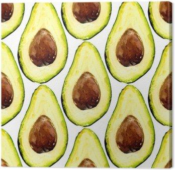 Tuval Baskı Desen tekrarlanan güzel avokado, çukur bir meyve yarısı oluşuyordu. Vector illustration.