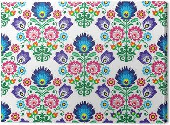 Tuval Baskı Dikişsiz Lehçe, Slav halk sanatı çiçek deseni - wzory lowickie