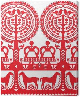 Tuval Baskı Dikişsiz Polonya halk sanatı desen Wycinanki Kurpiowskie - Kurpie Papercuts