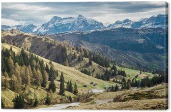 Tuval Baskı Dolomites, İtalya vadiye nefes kesen manzarası