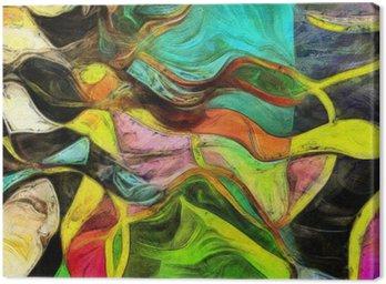 Tuval Baskı Dönen Şekiller, Renk ve Çizgiler