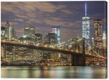 Tuval Baskı Dusk New York'ta Brooklyn Köprüsü ve Downtown Gökdelenler