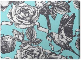 Tuval Baskı Elle çizilmiş gül, elma ve kuş ile sorunsuz desen. Vektör