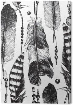 Tuval Baskı Elle çizilmiş tüyleri ile Seamless pattern