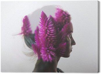 Tuval Baskı Genç kız ve çiçek portre ile yaratıcı çift pozlama