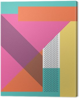 Tuval Baskı Geometrik şekiller ve desenli soyut bir retro 80s background. Malzeme tasarım duvar kağıdı.