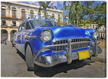 Tuval Baskı Havana sokakta klasik amerikan otomobil