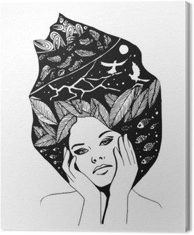 Tuval Baskı Kadının illüstrasyon, grafik siyah-beyaz ve portre