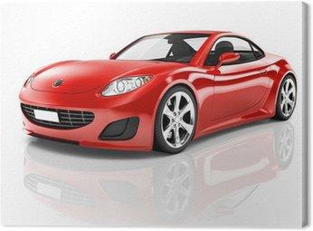 Tuval Baskı Kırmızı 3D Spor Araba
