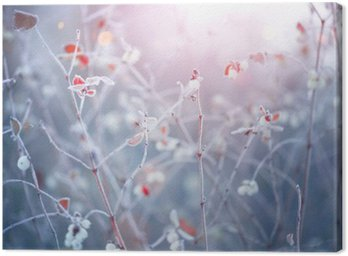 Tuval Baskı Kış doğa arka plan. Yaprakları closeup dondurulmuş şube