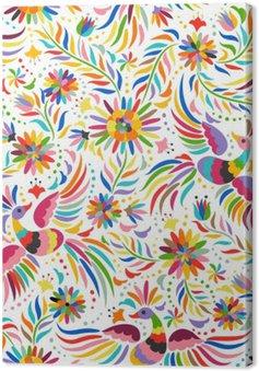 Tuval Baskı Meksika nakış seamless pattern. Renkli ve süslü etnik desen. Kuşlar ve çiçekler arka plan ışık. Parlak etnik takı ile floral background.