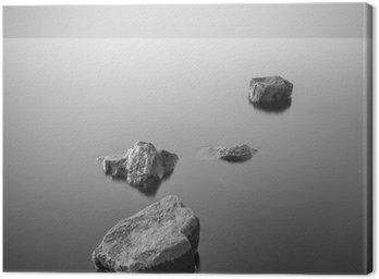 Tuval Baskı Minimalist puslu manzara. Siyah ve beyaz.