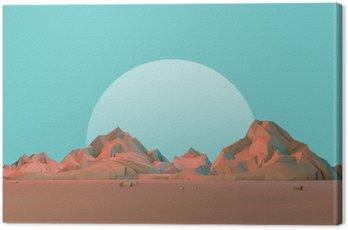 Tuval Baskı Moon ile düşük-Poly 3D Geometrik Çöl Dağlar