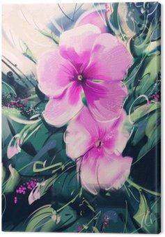 Tuval Baskı Mor çiçekler boyama