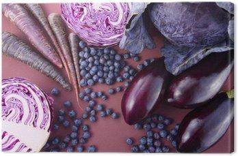 Tuval Baskı Mor meyve ve sebzeler