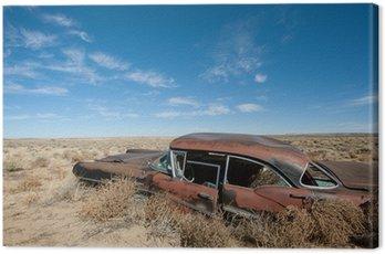 Tuval Baskı New Mexico çölünün ortasında eski paslanmış araba