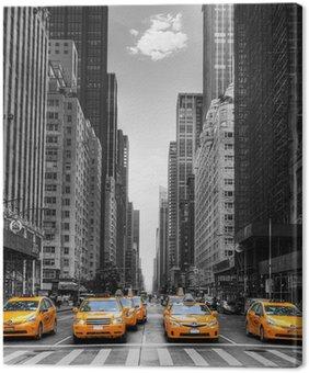 Tuval Baskı New York'ta taksi ile cadde.