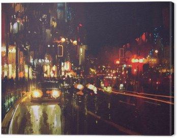 Tuval Baskı Renkli ışıkları ile gece sokak boyama