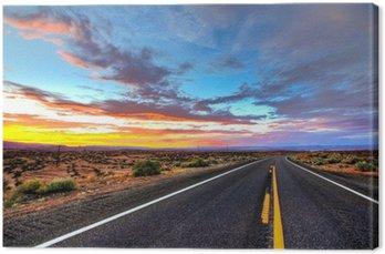 Tuval Baskı Roadview im Sonnenuntergang - ABD