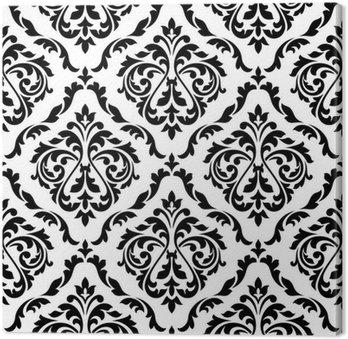 Tuval Baskı Şam siyah ve beyaz çiçek seamless pattern