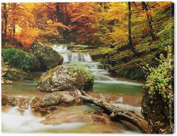 Tuval Baskı Sarı ağaçları ile Sonbahar dere orman