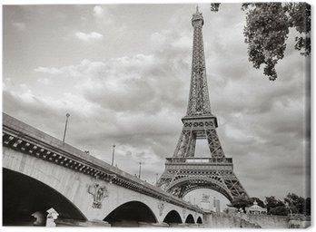 Tuval Baskı Seine nehri kare biçiminde Eyfel Kulesi görünümü