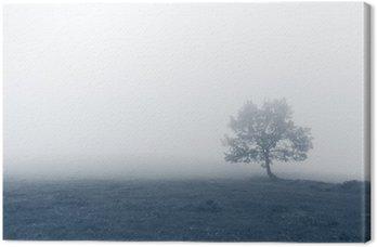 Tuval Baskı Sis ile yalnız ağaç