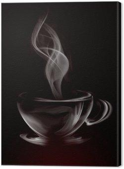 Tuval Baskı Siyah üzerine Coffee Of Sanatsal İllüstrasyon Duman Kupası