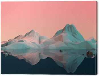 Tuval Baskı Su ve Reflection ile düşük-Poly 3D Dağ Manzarası