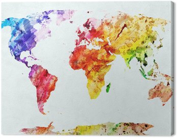 Tuval Baskı Suluboya dünya haritası