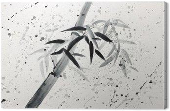 Tuval Baskı Tek bambu ve yağmur damlaları