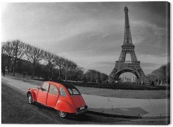 Tuval Baskı Tour Eiffel et voiture rouge- Paris