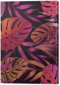 Tuval Baskı Tropik çiçekler, orman yapraklar, cennet çiçeği kuş.