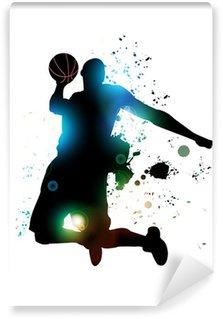 Tvättbar Fototapet Abstrakt basketspelare