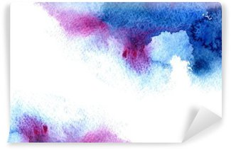 Tvättbar Fototapet Abstrakt blå och violett vattniga frame.Aquatic backdrop.Hand dras vattenfärg stain.Cerulean stänk.