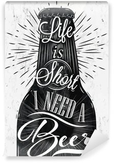 Tvättbar Fototapet Affisch vintage öl
