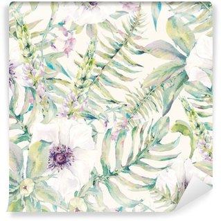 Tvättbar Fototapet Akvarell blad seamless med ormbunkar och blommor