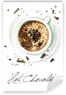 Tvättbar Fototapet Akvarell Mat Målning - Hot Chocolate