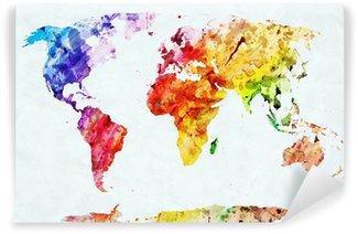 Tvättbar Fototapet Akvarell världskartan