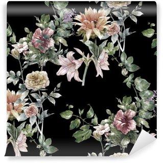 Tvättbar Fototapet Akvarellmålning av löv och blommor, seamless mönster på mörk bakgrund,