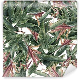 Tvättbar Fototapet Akvarellmålning av löv och blommor, seamless