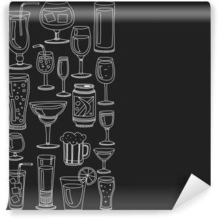 Tvättbar Fototapet Alkohol drinkar och cocktails ikoner