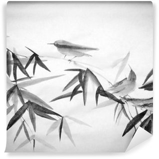 Tvättbar Fototapet Bambu och tre birdies gren