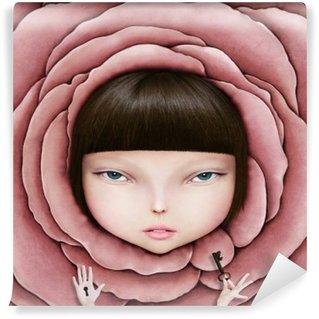 Tvättbar Fototapet Begrepps illustration eller affisch med huvudet flicka i rosenblad med nyckel i handen.