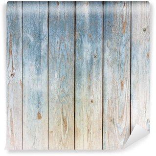 Tvättbar Fototapet Blå vintage trä bakgrund