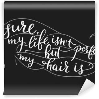 Tvättbar Fototapet Citationstecken på vacker flicka silhuett
