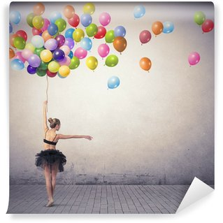 Tvättbar Fototapet Dansare med ballonger