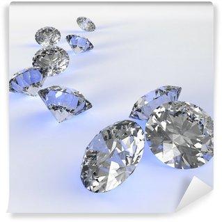 Tvättbar Fototapet Diamanter 3d i sammansättning som koncept