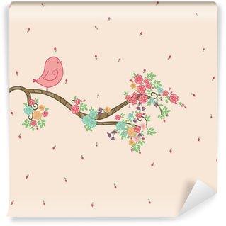 Tvättbar Fototapet Fågel på blommig gren