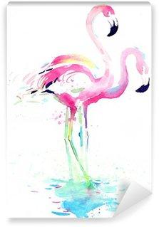 Tvättbar Fototapet Flamingo